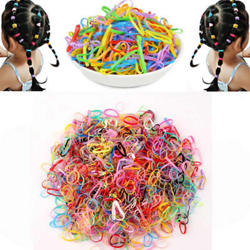 100pcs lots Candy Color Hair Ropes Child Kids Ponytail Holder Elastic Hair Bands Hair Accessories Rubber Rope Silicone Hairband in Hair Accessories from Mother Kids