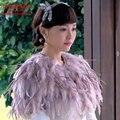 Xales Lilás Avestruz Do Casamento da Pena de luxo Inverno Quente 2016 Nova Moda Shrug Capes Casaco Bolero de Noiva Acessórios Do Casamento B139