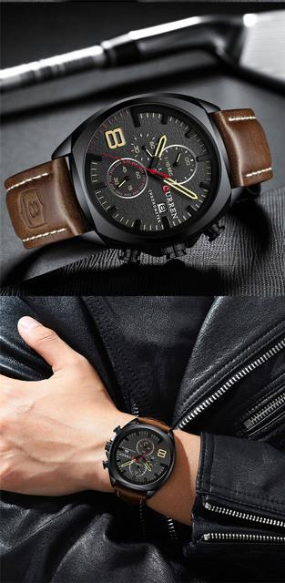 CURREN Watch Men Waterproof Chronograph Sport Military Male Clock Top Brand Luxury Leather Man Wristwatch Relogio Masculino 8324