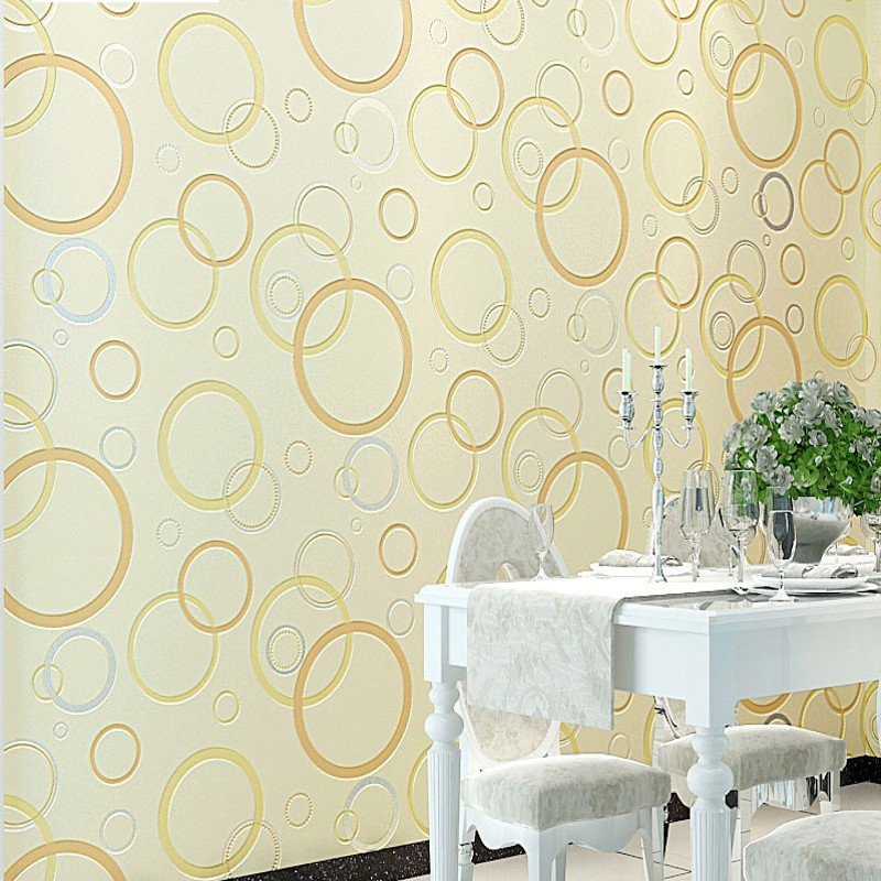 Купить с кэшбэком Modern non-woven wallpaper black and white circle yellow blue bedroom living room TV background wall 3D stereo wallpapers