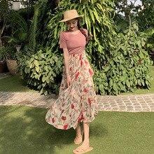 New Bohemian High Waist Floral Print Summer Casual Skirts Women's Boho Irregular Chiffon Skirt Maxi Long Skirts For Women 2019 цена