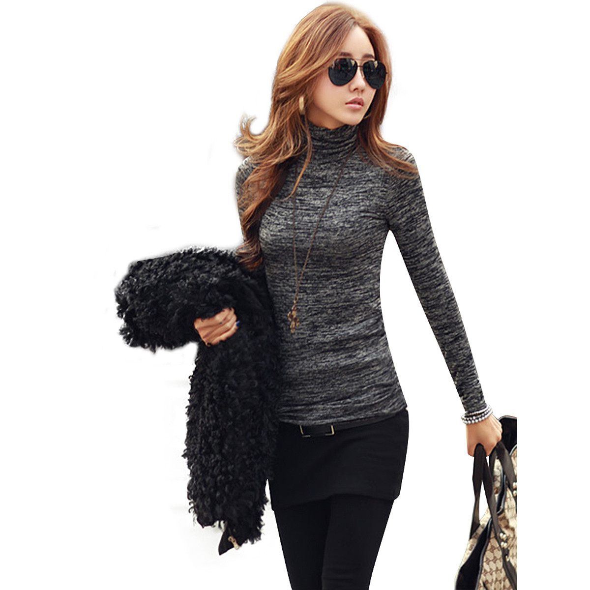 87cb8b4f6a9a86 ZANZEA New Women Fashion High Neck Sweaters Lady Casual Long Sleeve Slim  Fit Knitted Pullovers Autumn Knitwear Plus Size S 3XL-in Pullovers from  Women's ...