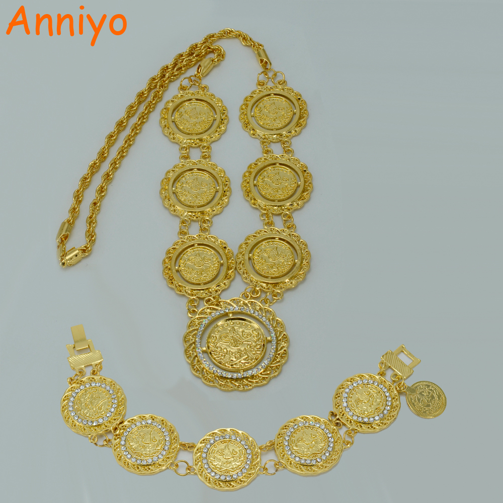 Anniyo Coin sets Jewelry 67cm Long Necklace and Bracelet Turkey Coin Necklaces Gold Color Middle East Turks Bangle #011806B adiors long middle parting shaggy wavy color mix synthetic party wig
