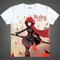 Anime RWBY T Shirt Ruby Rose Weiss Schnee T-shirt RWBY Red rose print Tops Tees Men Women Party Cosplay Costume White Tshirt