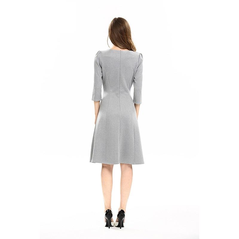 Vestido de una línea de retazos de bordado de nueva moda para mujer - Ropa de mujer - foto 3