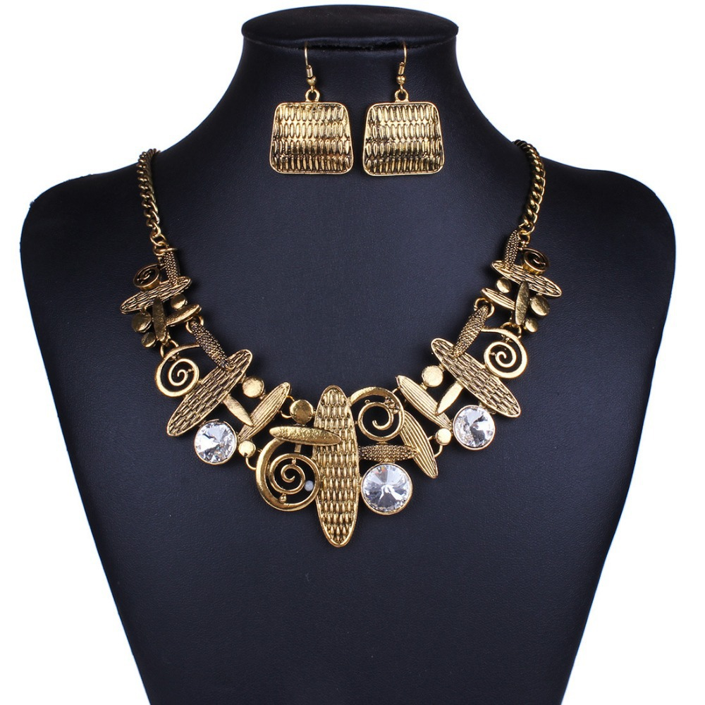 ITHIL Indian Jewellery jewelry sets statement necklace earrings bijoux femme parure for women Gold-color crystal schmuck joyeria