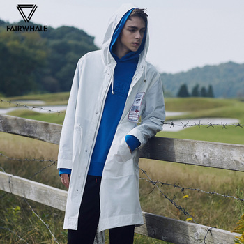 Mark Fairwhale 2019 new arrival solid with hood pockets long trench coat jacket men 718113027008