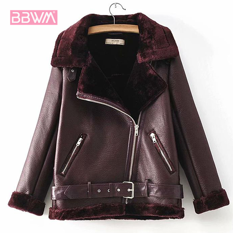 Winter women's 2018 new plus velvet thickening lambskin fur one locomotive lapel black large size women's jacket  zipper  coat