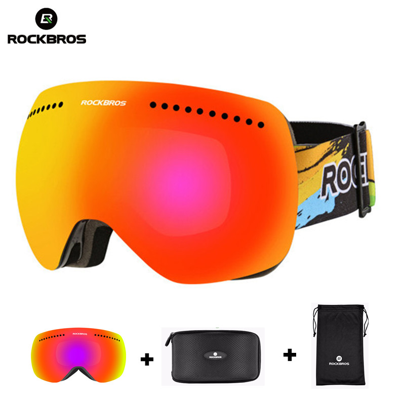 ROCKBROS Skiing Goggles Glasses Double Lens Windproof Anti fog Eyewear UV400 font b Snowboard b font