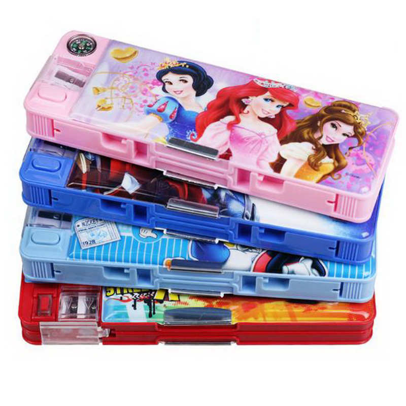 220704/Childhood Stationery Pupils Multifunctional Plastic Pencil Box Kindergarten Princess Cute Girl Boy kid s box 2ed 5 pupils bk