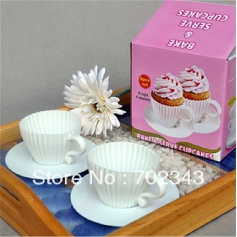 Lollodoo Cake Decor And Baking : 4Sets Bake&Serve Cupcake Mold Tea Cup Muffin Silicone Mold ...