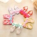 14-19CM 2017 Summer Girls Sandals Mini Melissa Jelly Sandals For Baby Girls Kids Shoes Children Cartoon Bowtie Beach Sandals
