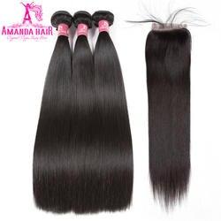 Аманда человеческих волос Связки с закрытием 100% волос натуральный черный Цвет перуанский девственница прямые волосы 3 Связки с кружевом