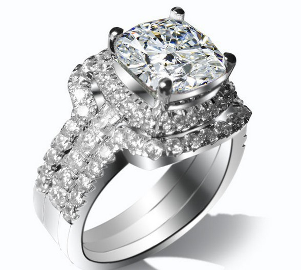2 carat cushion cut sona fine diamond engagement ring with band genuine 925 sterling silver never - 2 Carat Wedding Ring