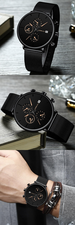 HTB1DoEaVwHqK1RjSZFgq6y7JXXaY Mens Women StopWatches CRRJU Unique Design Luxury Sport Wrist Watch Stainless Steel Mesh Strap Men's Fashion Casual Date Watches
