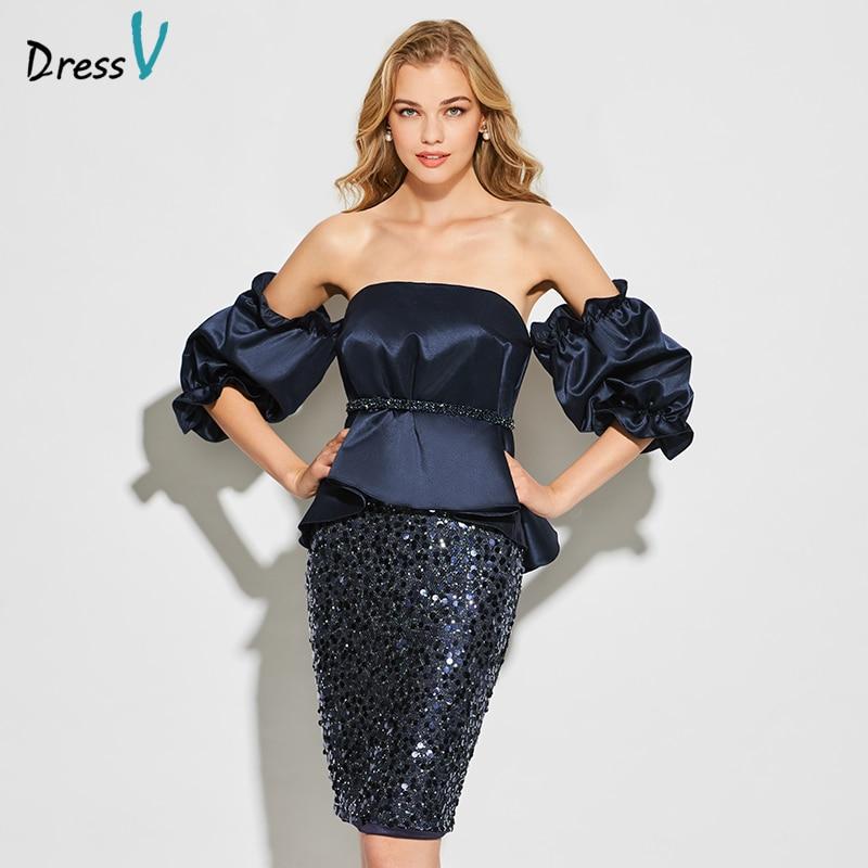 Dressv Dark Navy Blue Strapless Cocktail Dress Long Sleeves Elegant Knee Length Wedding Party Formal Dress Satin Cocktail Dress