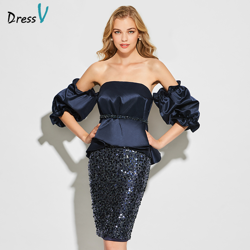 Dressv dark navy blue strapless   cocktail     dress   long sleeves elegant knee length wedding party formal   dress   satin   cocktail     dress
