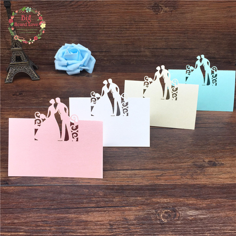 Big Heard Love 40pcs Bride and Groom Laser Cut Place Cards Wedding Name Cards Guest Name Place Card Wedding Table Decoration 1 design laser cut white elegant pattern west cowboy style vintage wedding invitations card kit blank paper printing invitation