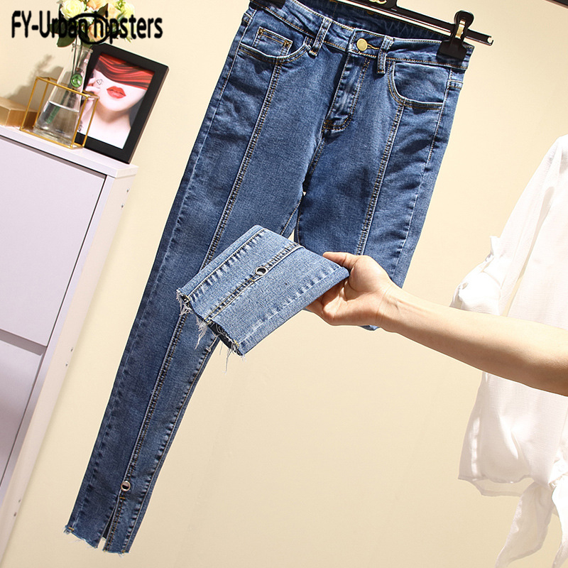 Mid Waist Straight Jeans Women Loose Washed Denim Pants Stitching Jeans Women Ankle-Length Jeans Casual Nine Split Leg Pants