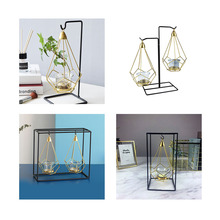 Nordic style Geometric Design Gold Glass Iron Candle Holder Candlestick For Cup Candles Home Wedding Decoration Accessories