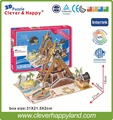 new clever&happy land  3d puzzle model  Pirate Ship Ride adult puzzle diy paper warsaws model games for children paper
