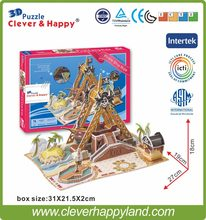 new clever&happy land 3d puzzle model Pirate Ship Ride adult puzzle diy paper warsaws model games for children paper(China)