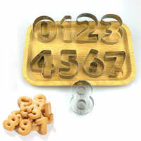 Hot Cookie Cutters Moulds 9PCS/Set Puzzle Numbers 0-9 Arabic Numerals Cute Candy Biscuit Mold DIY Baking Tools Stainless Steel