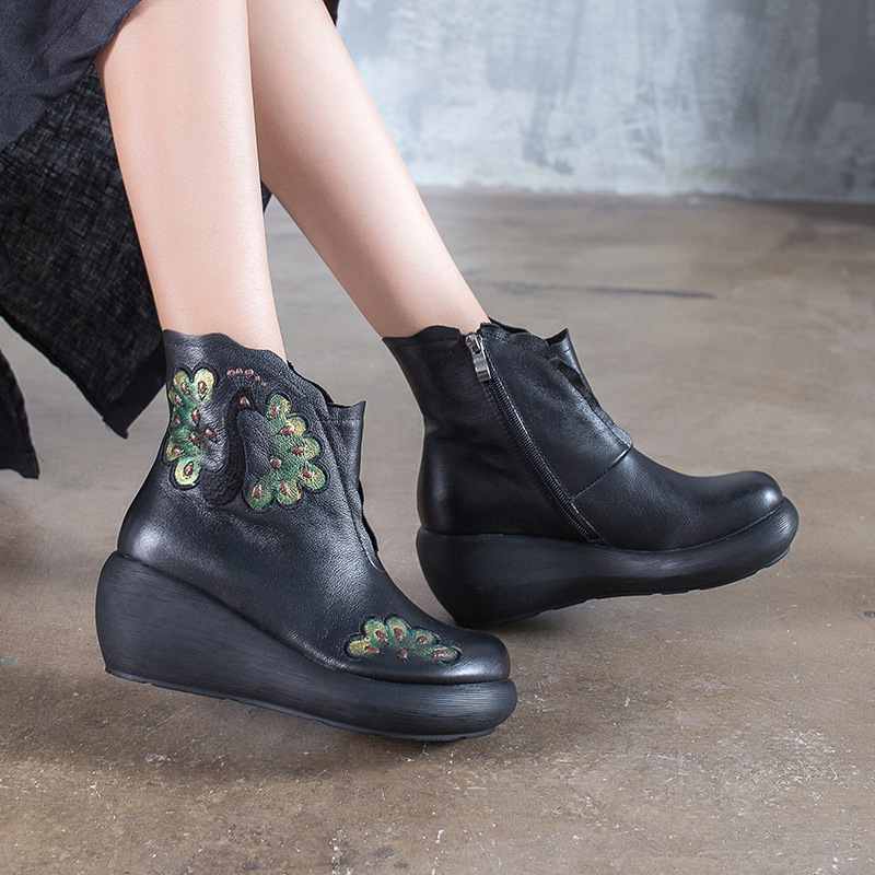 Women Embroidery Leather Ankle Boots 7 CM High Heels Women Wedge Shoes Winter 2018 Handmade Women Genuine Leather Martin Boots women leather ankle boots black 5 cm high heels wedge shoes winter warm short plush retro martin boots leather women handmade