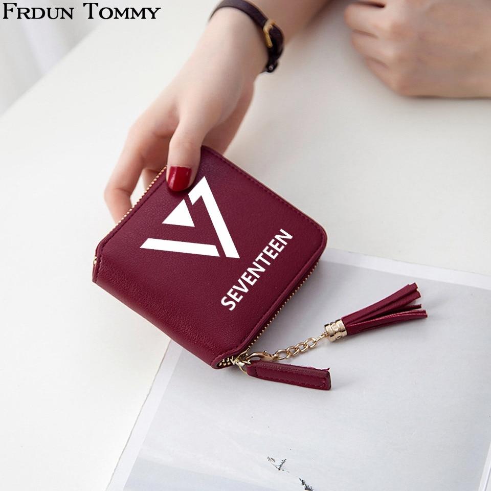 2018 Seventeen Kpop Wallet Fashion Idol Tassel Purse PU Leather Kpop Short Zipper Card Wallet College Style Mini Practical Bag