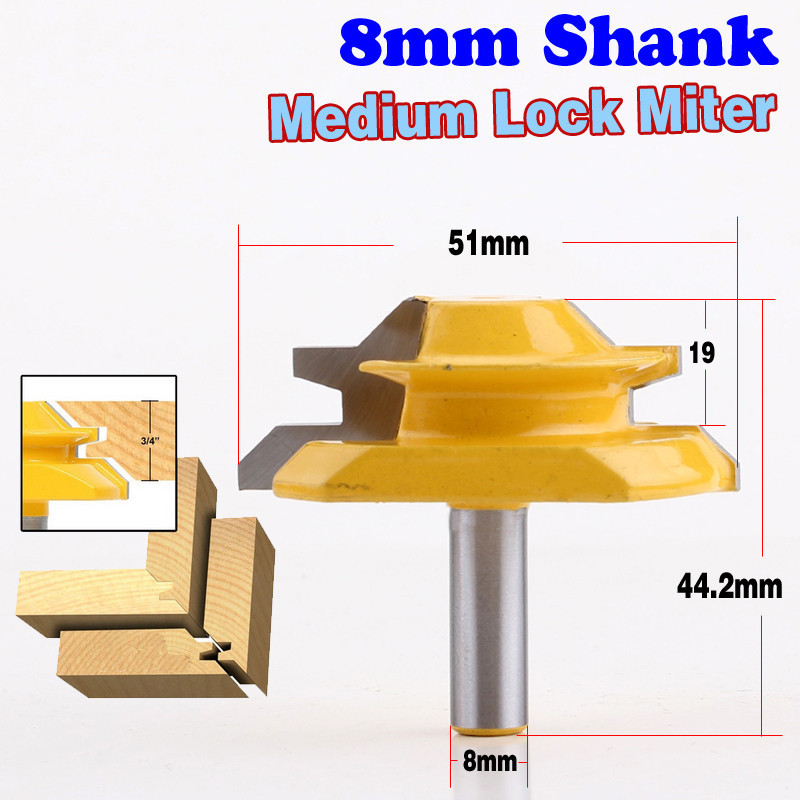 1PC 8mm Shank Medium Lock Miter Router Bit 45 Degree 3 4 Stock Woodworking Milling Cutter