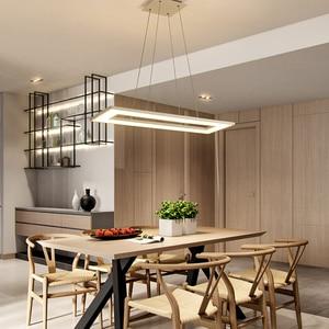 Image 2 - Rectangle or Square Lights White or Black Modern Led Pendant Lights For Living Room Dining Room Kitchen Room Pendant Lamp
