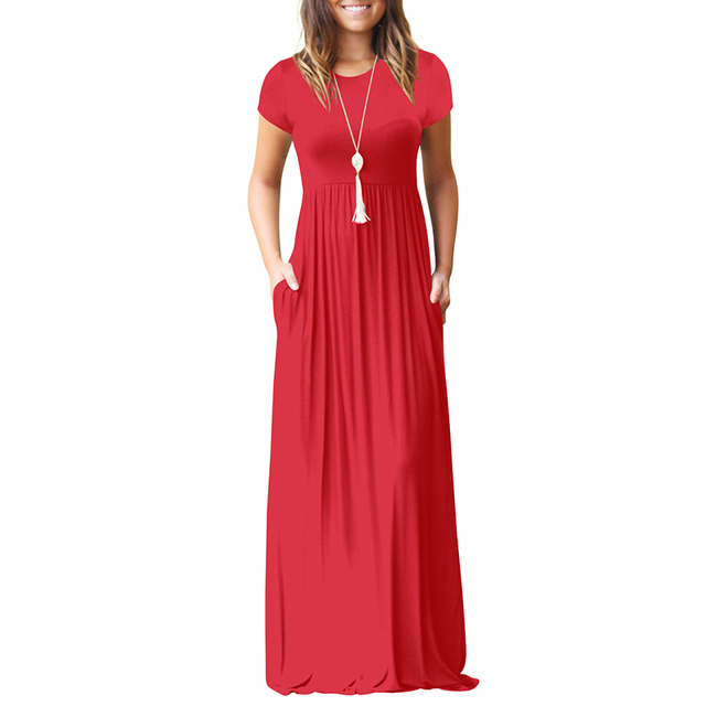 21f74d6494c Aliexpress.com : Buy 2018 Women Short Sleeve Summer Maxi Dress Casual O  Neck Solid Pocket Floor Length Long Dress for Women Party Dresses Femme New  ...