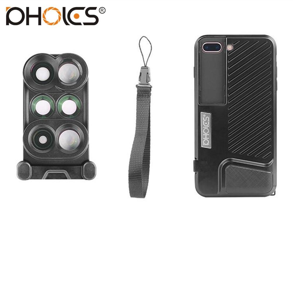 bilder für PHOLES Neueste 5 in 1 Handy-objektiv-kit 160 Grad Fisheye objektiv + 110 grad weitwinkel + 10x makro-objektiv für iphone 7 plus mit fall
