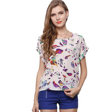 Summer Women Sunflower Bird Chiffon Feather Print Blouse Stripe Plaid Shirt Cross Love Blouse Short Sleeves Blue Lipstick Shirts(China)