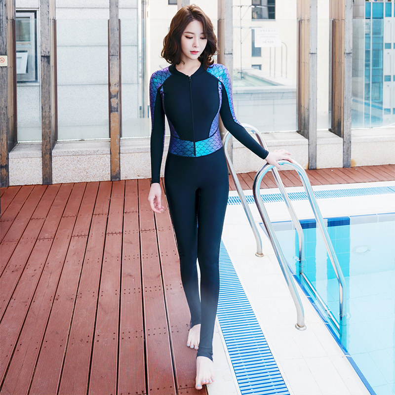 Women Wetsuit Long Sleeves Pedals Zipper Mermaid Surfing Clothing One Piece Padded Fish Scales Pattern Rash