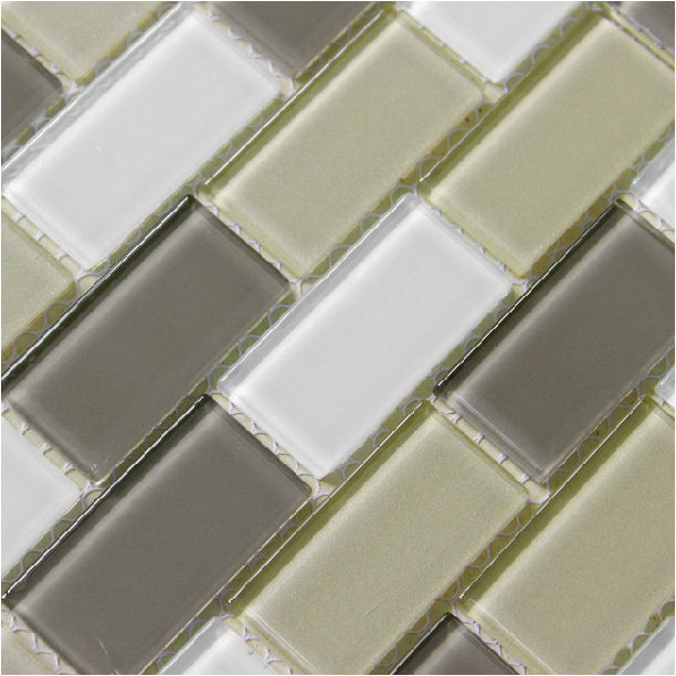 Interlocking Mosaic Tiles Crystal Glass Tile Backsplash Wall Brick White  And Grey Mixed Subway Tile Liner
