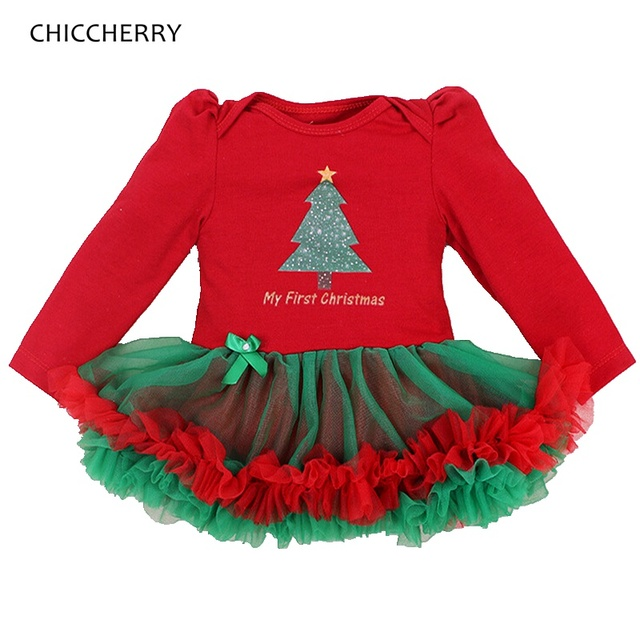 2cfd15fe3 My First Christmas Baby Girl Clothes Long Sleeve Lace Romper Girl's Dresses  Vestido De Bebe Party Outfits 2018 New Year Costumes