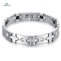 Health Care Magnetic Cross Bracelet Men Stainless Steel Bracelet Husband Bracelets Bangles Man Braclet Gem Jewelry
