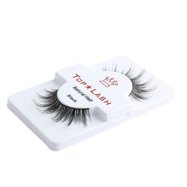 1 Pair Women Lady Sexy Real Mink Hair Black Thick Long False Fake Eye Lashes Cross Eyelashes Super Natural Makeup Tools 1