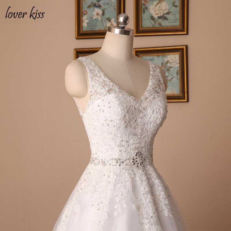 V-neck Beaded Sash Backless A-line Lace Vintage Wedding Dress
