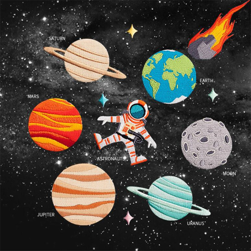 The Sun Earth Galaxy Saturn Mars Patches Iron On Or Sew Fabric Sticker For Clothes Badge Patch Embroidered Appliques DIY