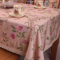 Pink Slub Polyester Cotton Blending Tablecloth High Quality Pastoral Floral Lace Table Cloth Cover For Tea