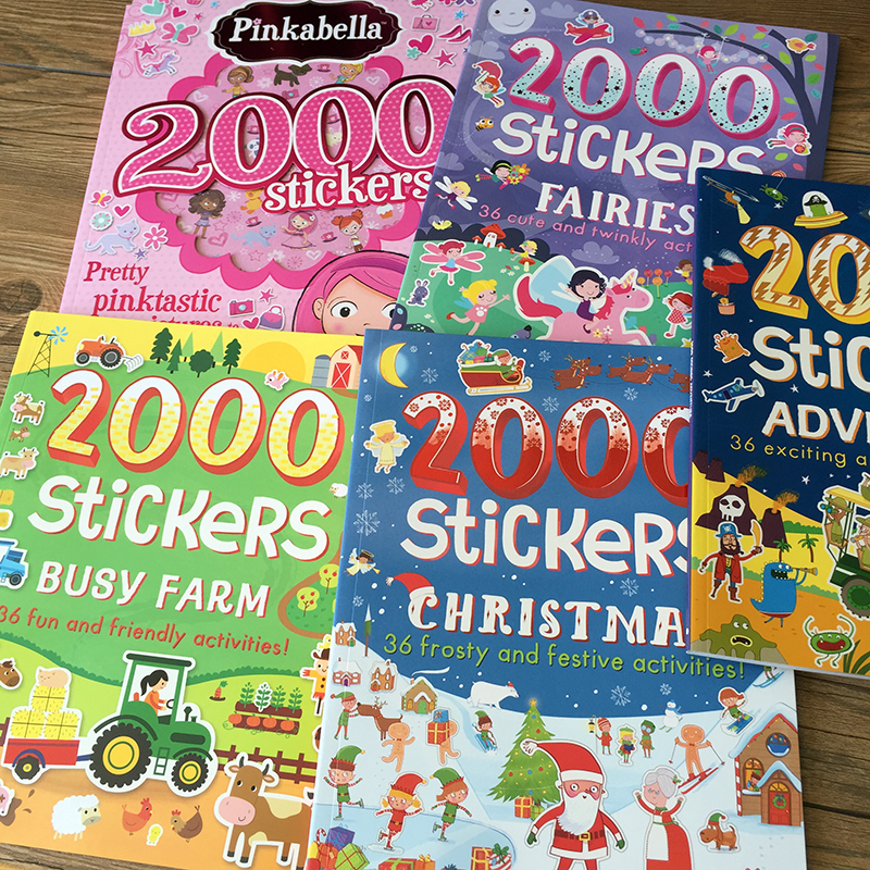 2000 Stickers English Activity Book For Kids And Children/ 27*24cm Animal/princess/farm/ Stickers For Boys And Girls Gifts Toy