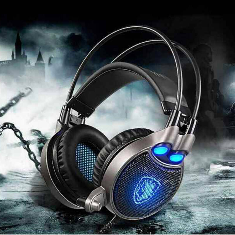 Original Sades AW70 USB Stereo Gaming Headphones Over Ear Noise Isolating LED Lights Headset for PC Gamer PK Siberia V2 S200 sades a6 usb 7 1 surround sound stereo gaming headset headband over ear headphone with mic volume control led light for pc gamer