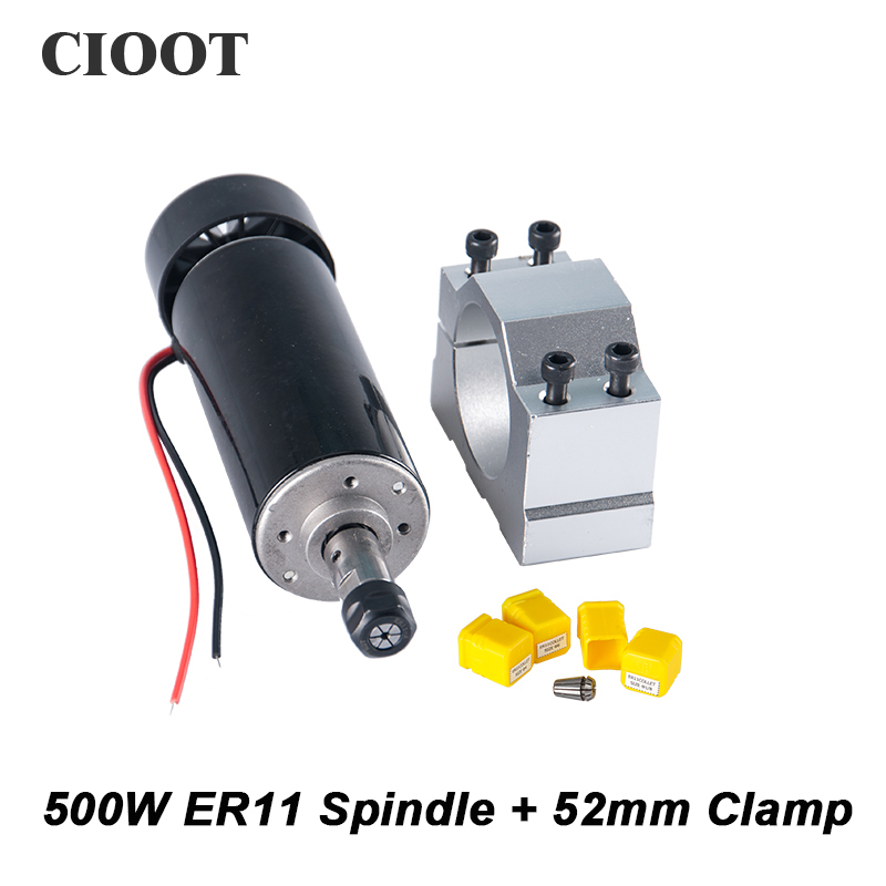 Free Shipping Air Cooled Spindle 500W CNC Router Spindle Motor + 52mm Clamp + 3pcs ER11 Collet For Milling Machine Tools free shipping cnc spindle 500w er11 collet dc 0 5kw air cooled spindle motor 52mm clamp for engraving milling machine