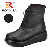 ROYYNA New Fashion Leather Boots For Women Mid-Calf Spring Autumn Womens Shoes Thick Short Comfortable