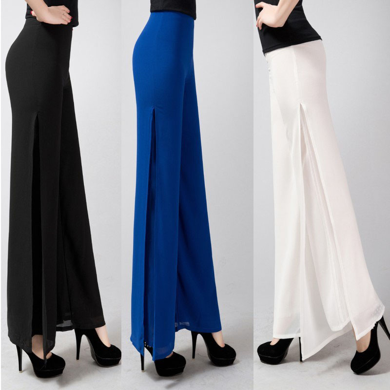 2019 Summer Ladies Baggy   Pants   Women Casual   Wide     Leg     Pants   Solid High Waist Side Split Chiffon   Pants