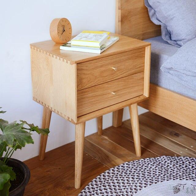 Online Shop Japanese white oak wood nightstand simple modern bedroom ...