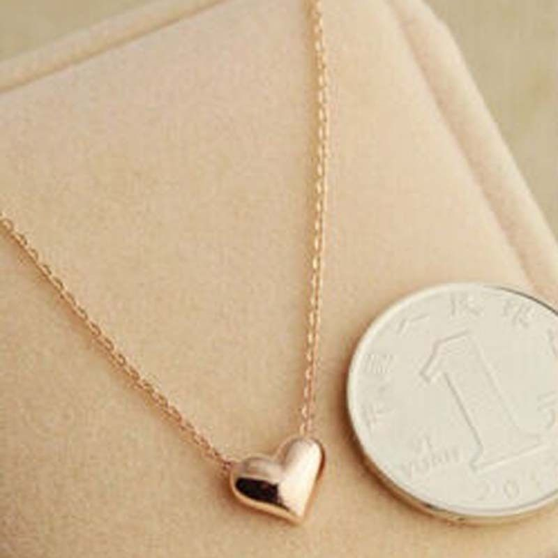 2016 Small Simple Design Heart Love Necklace Women Short Chain ...