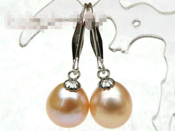 LIVRAISON GRATUITE vente CHAUDE nouveau Style>>>> 8.5*10mm goutte rose akoya perles balancent la boucle d'oreille 925 argent crochet